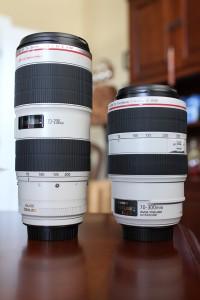 Canon EF 70-200 f/2.8L II IS USM and Canon EF 70-300 f/4-5.6L IS USM retracted