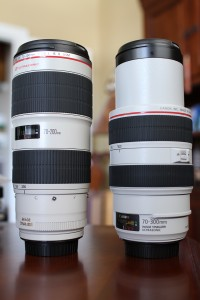 Canon EF 70-200 f/2.8L II IS USM and Canon EF 70-300 f/4-5.6L IS USM extended